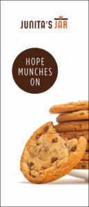 Junita's Jar banner, with a plate of delicious cookies and the HOPE MUNCHES ON tagline