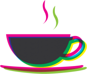 illustration of a steaming cup of coffee or tea.