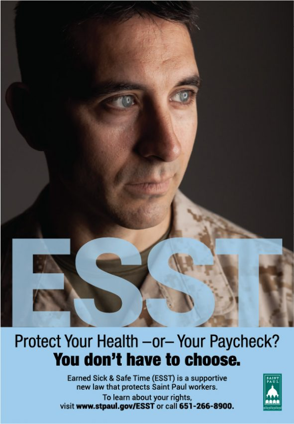 ESST poster design, featuring a veteran in fatigues, looking off the right