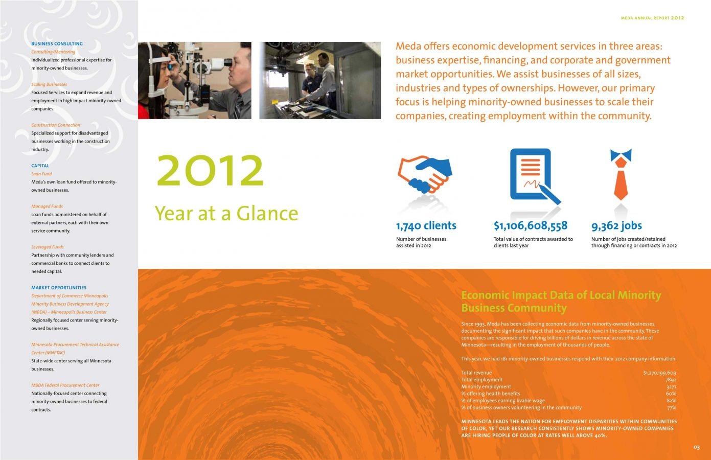 Annual report spread with orange color blocking on the bottom third and clean iconography