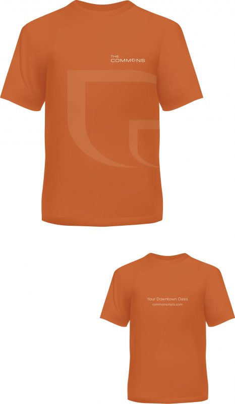 The Commons branded tshirts, in orange, with the logo and leaf-shaped letter o prominently shown in the background
