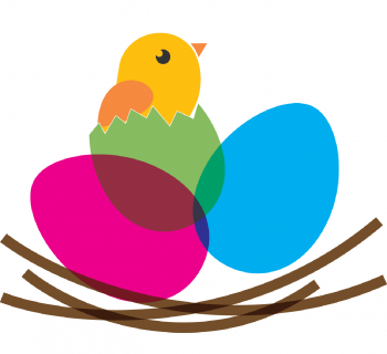 Illustration of small chick and eggs in a nest
