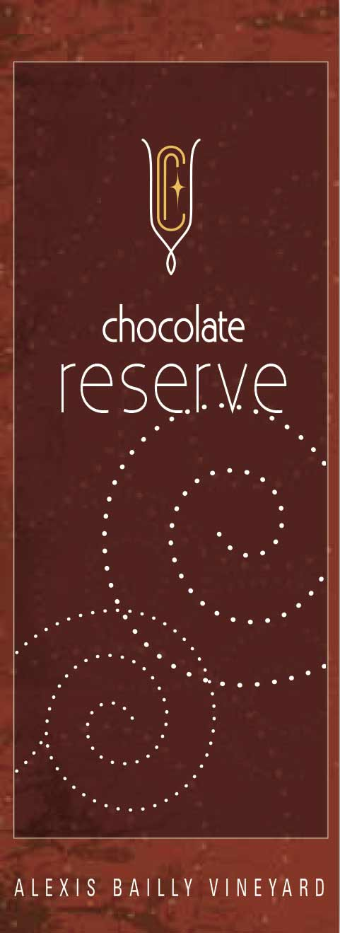 Chocolate Reserve wine label design, in deep browns, with dotted pattern