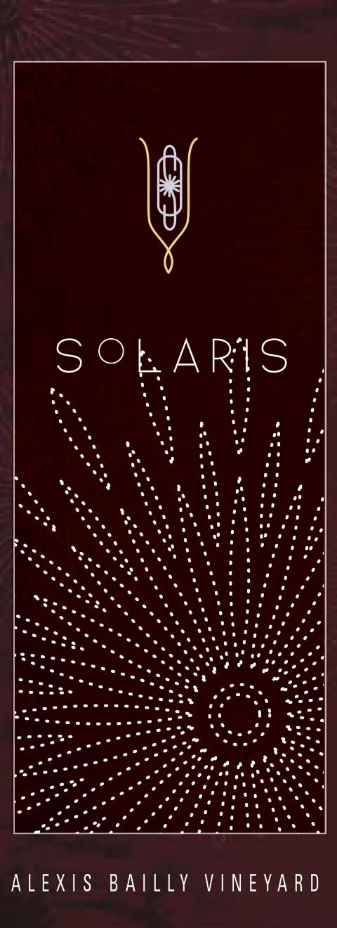 Solaris wine label design, in deep burgundy, with a dotted white sunburst design overlayed