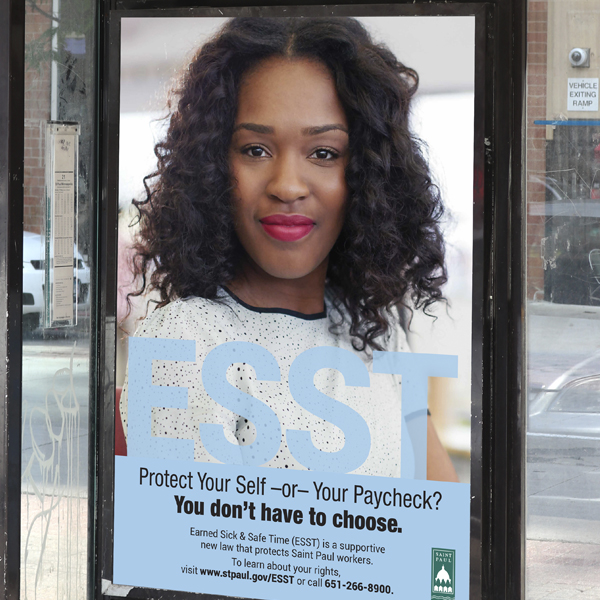 Campaign poster featured on transit center marketing