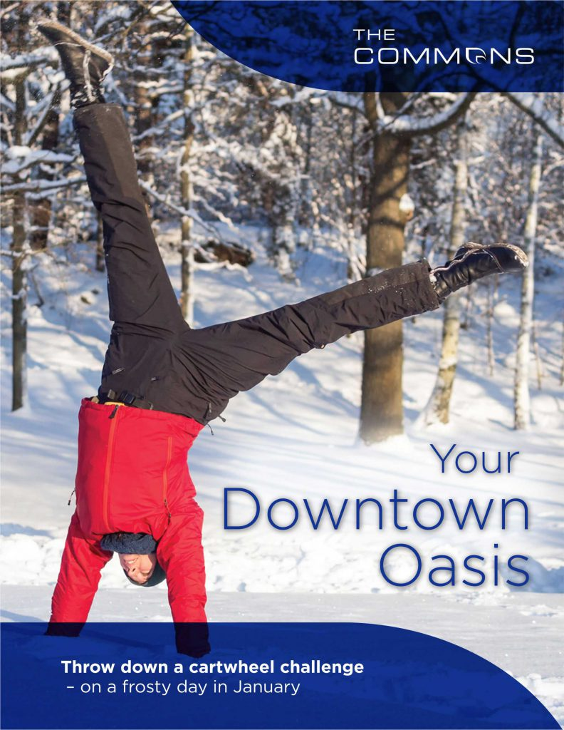 Poster for the Commons showing a person doing a handstand in the snow
