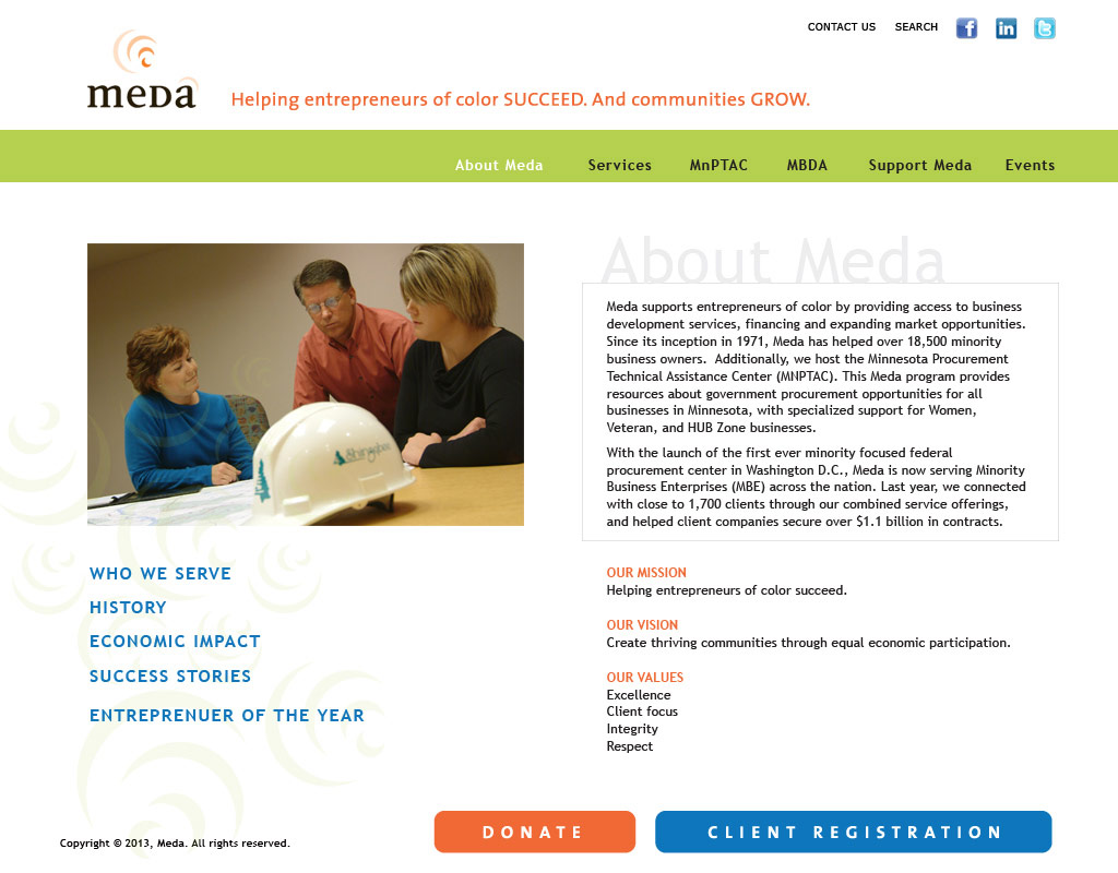 Meda websuite 'About Meda' page layout design