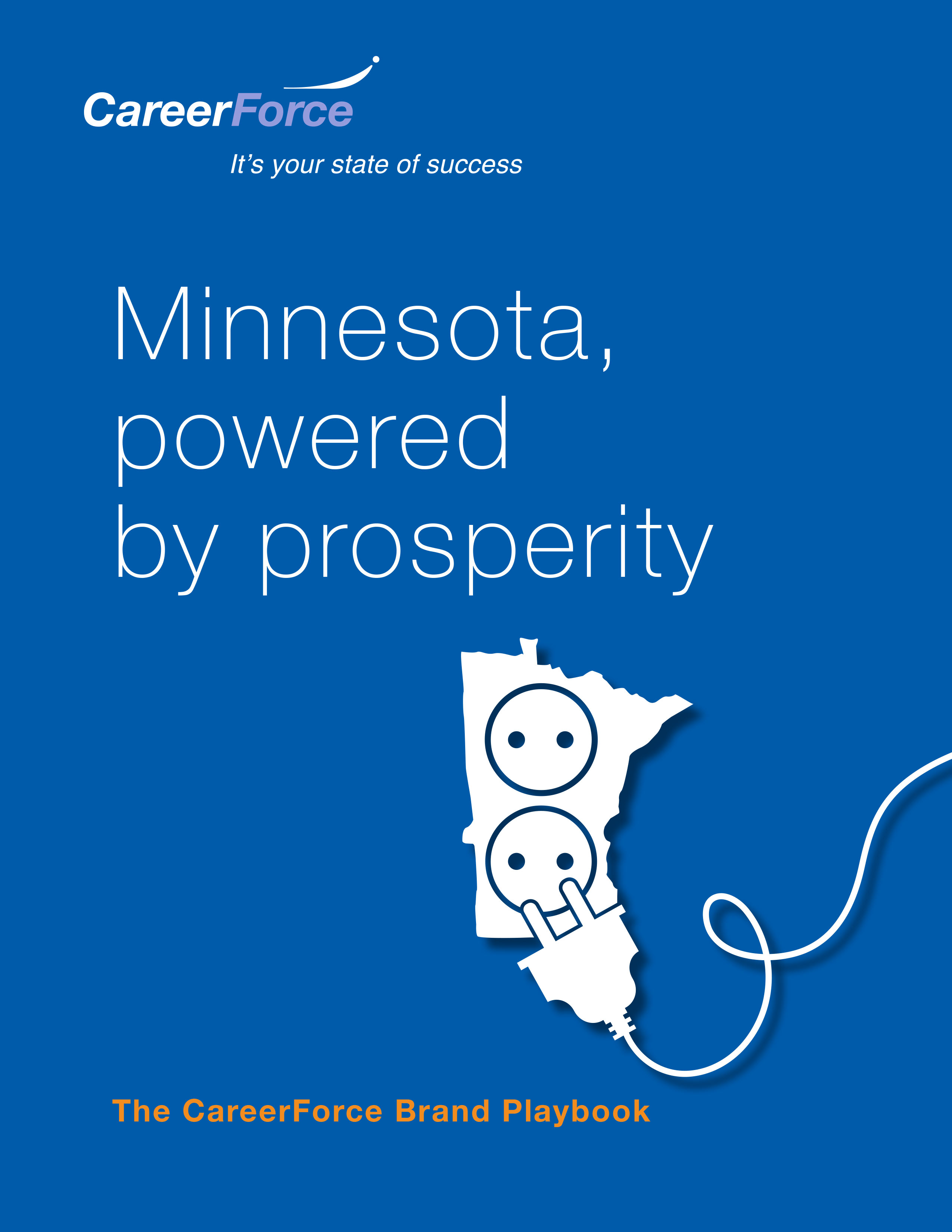 CareerForce brand playbook cover titled: Minnesota, powered by prosperity