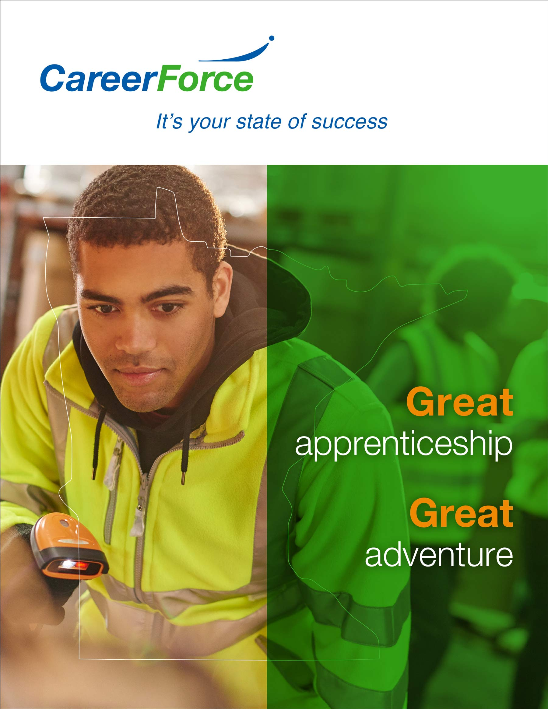 CareerForce poster featuring a warehouse employee with tilte: Great apprenticeship, great adventure.