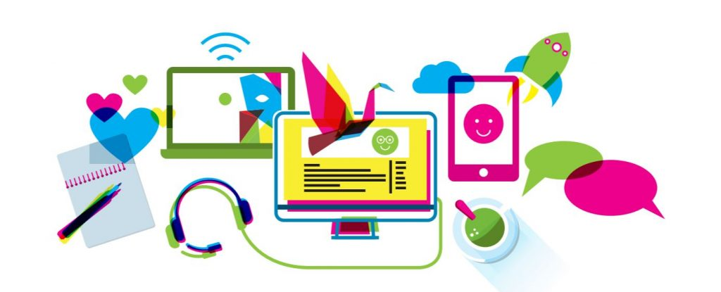 A brightly colored illustration of modern media: cell phones, monitors, laptop.