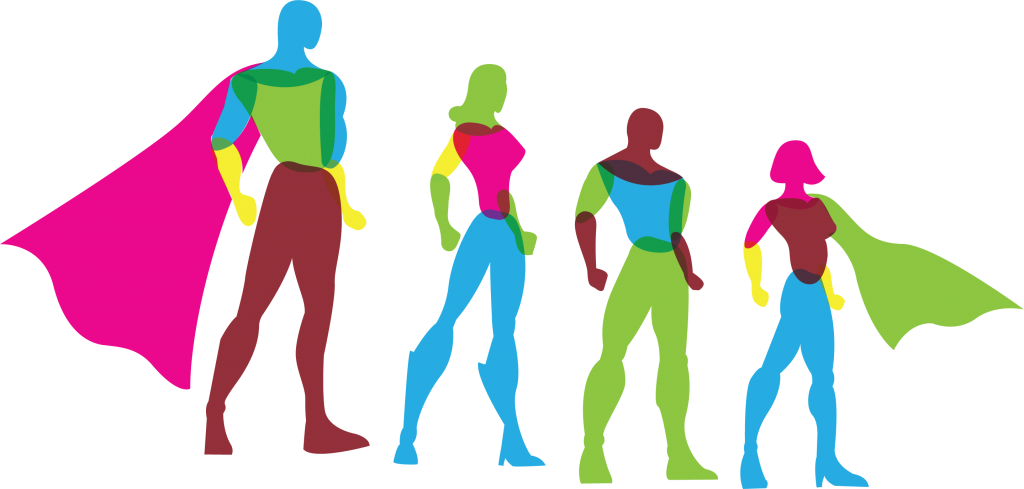 Brightly colored, vector illustration of four superheroes