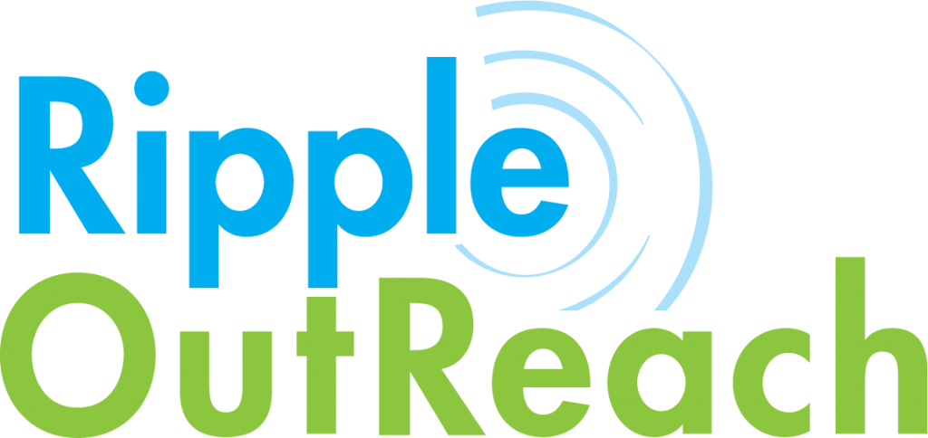 Ripple OutReach wordmark. Ripple is in cryan, OutReach is in light green, with a small ripple coming off the e in Ripple