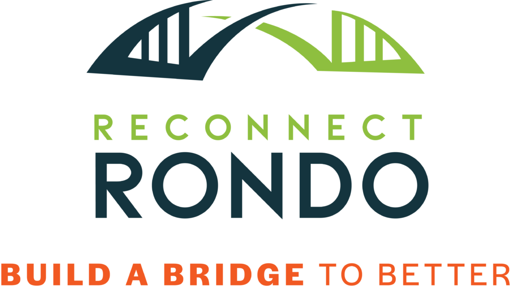 "ReConnect Rondo logo in two shades of green, with the tagline ""Build a Bridge to Better underneath"""