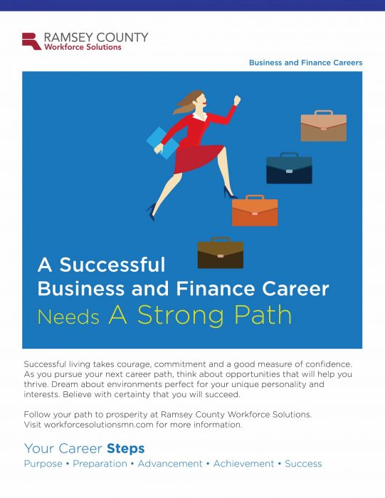 Business Finance cover with blue background and hand drawn illustration