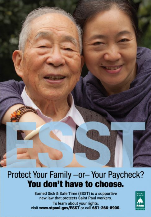 ESST poster design, featuring an elderly grandfather and a younger relative, smiling at the camera