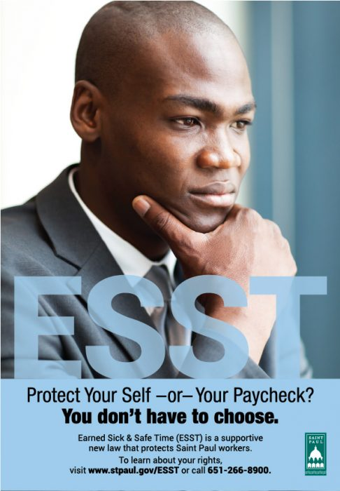 Poster campaign featuring a businessman in a suit with a serious expression on his face.