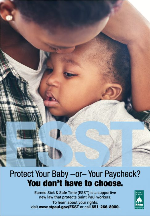 ESST poster design, featuring a mother cradling her chilld