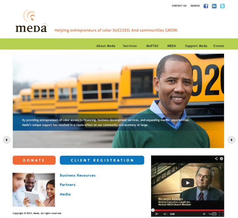 Meda homepage design, featuring a large image of a man standing in front of school busses