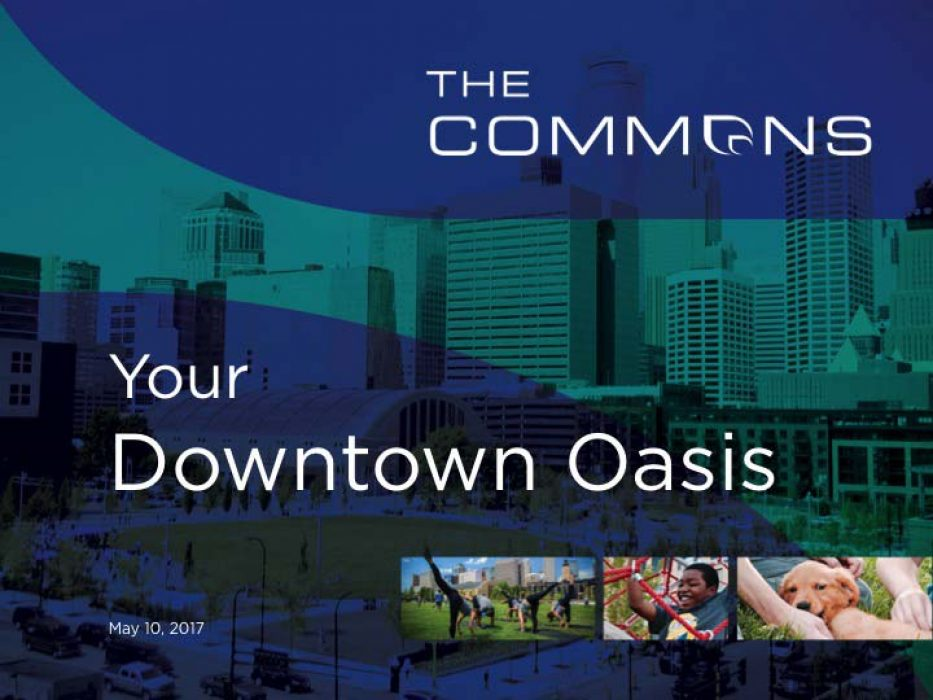 Opening Powerpoint slide featuring overlaying shades of blue over the Downtown Minneapolis skyline
