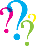 Illustration of 4 colorful question marks